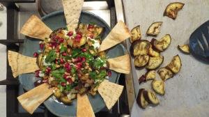 Pomegranate & Eggplant Salad with pita wedges